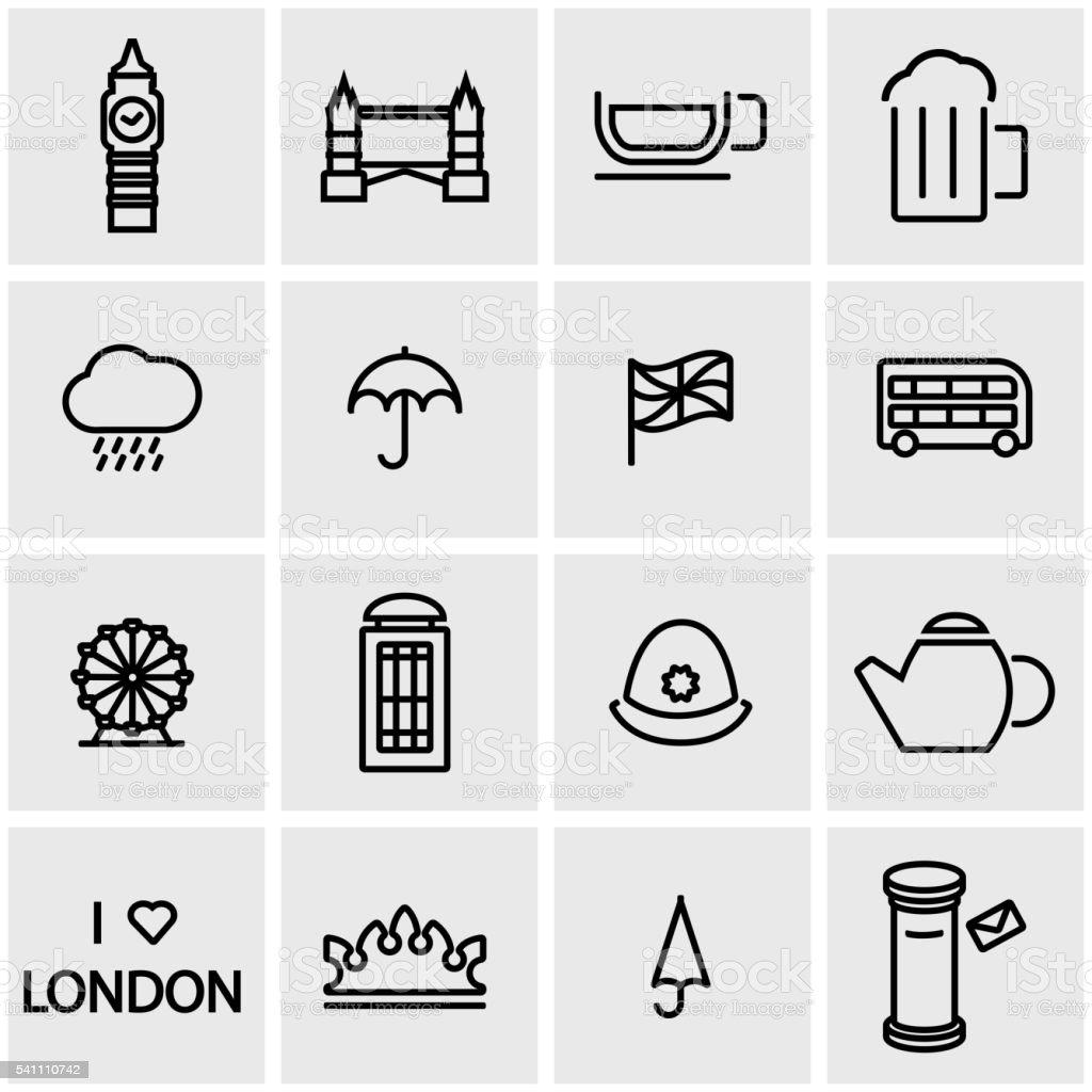 Vector line london icon set vector art illustration