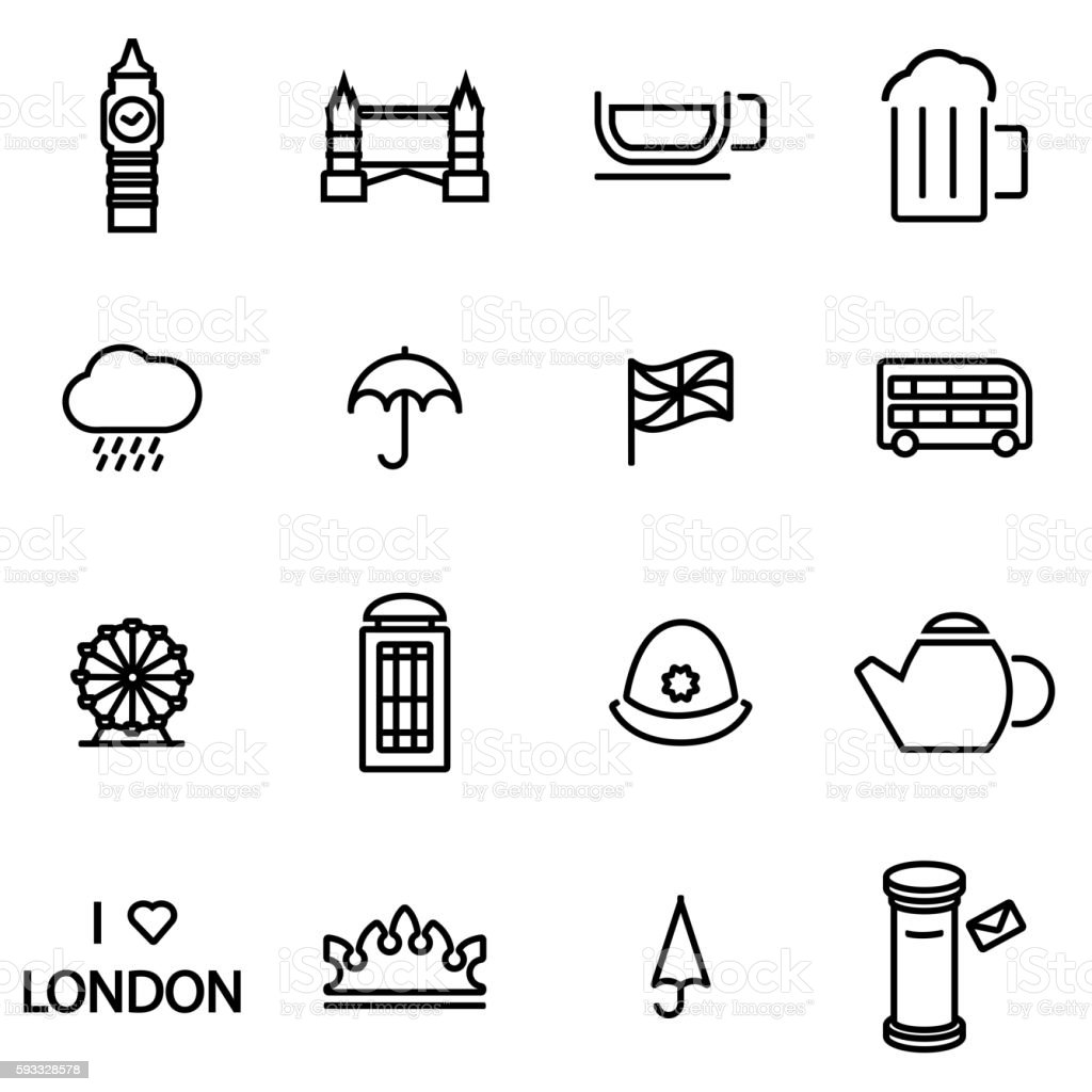 Vector line london icon set vector art illustration