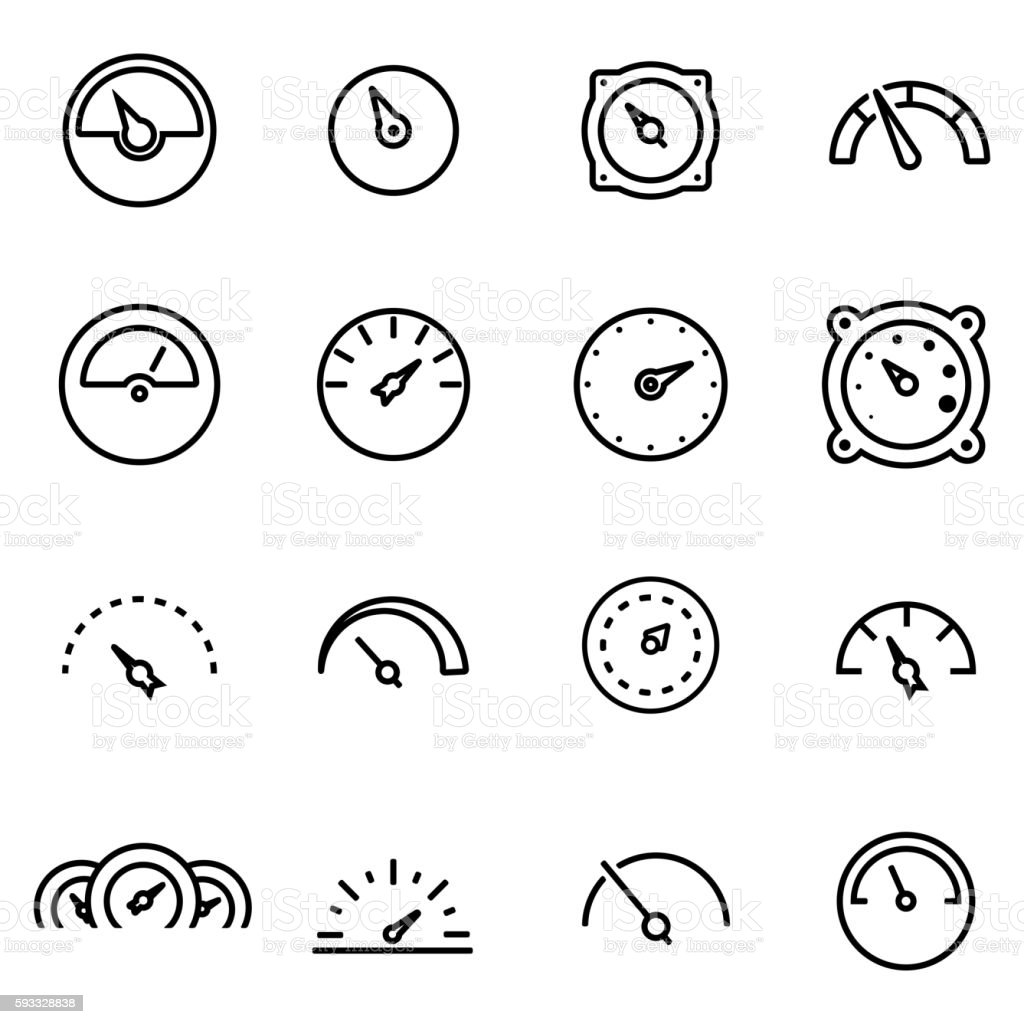 Vector line meter icon set vector art illustration