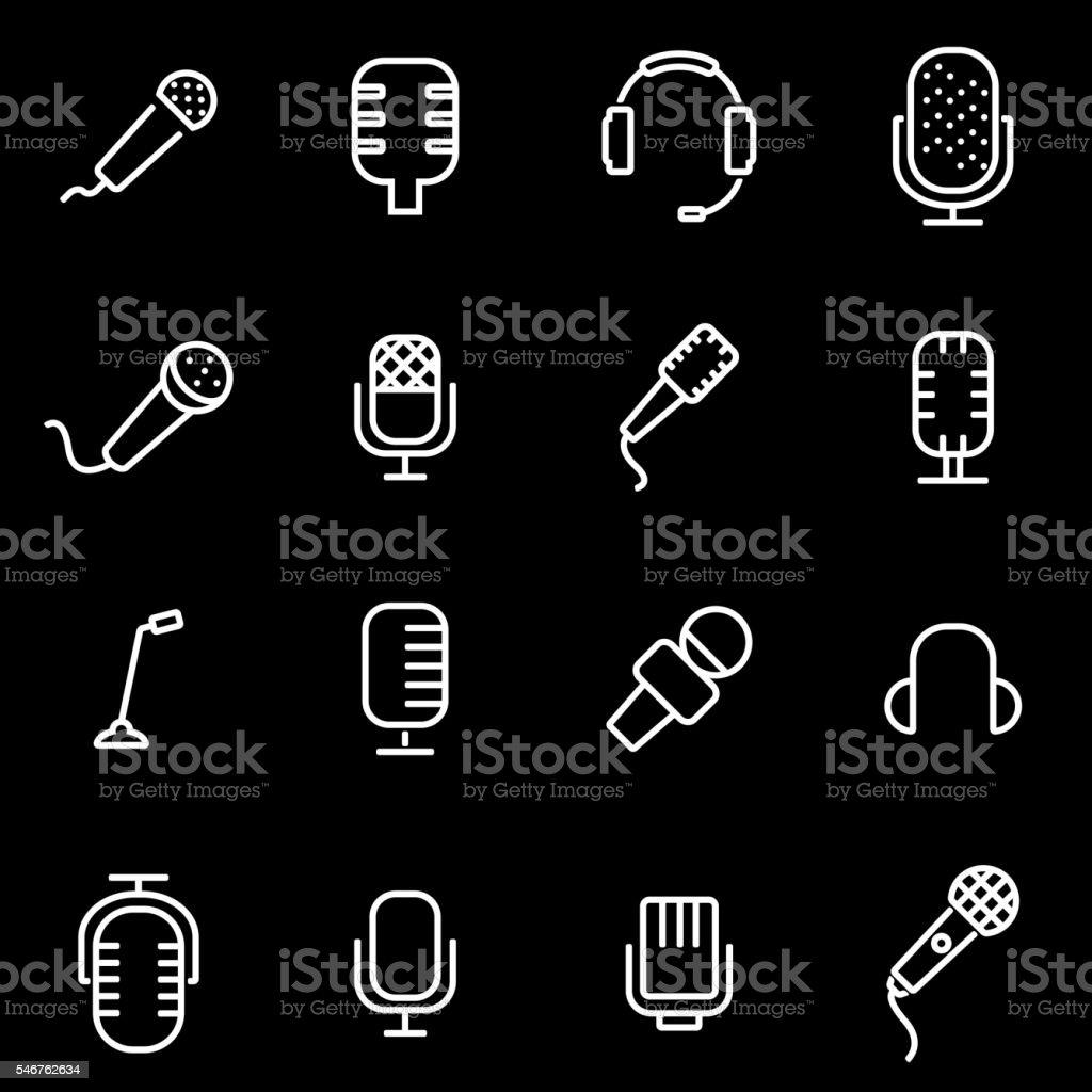 Vector line microphone icon set vector art illustration