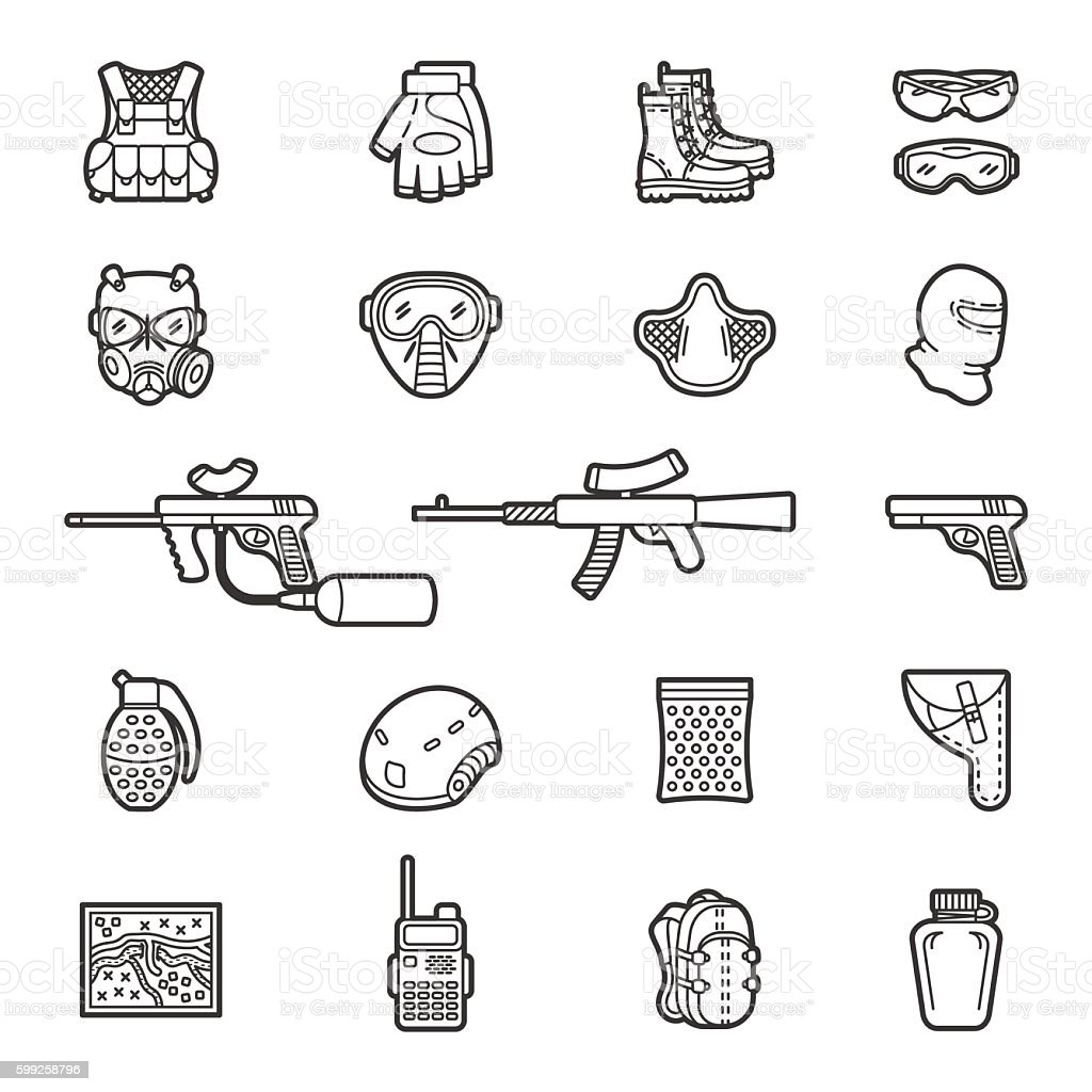 Vector line paintball or airsoft icon set vector art illustration