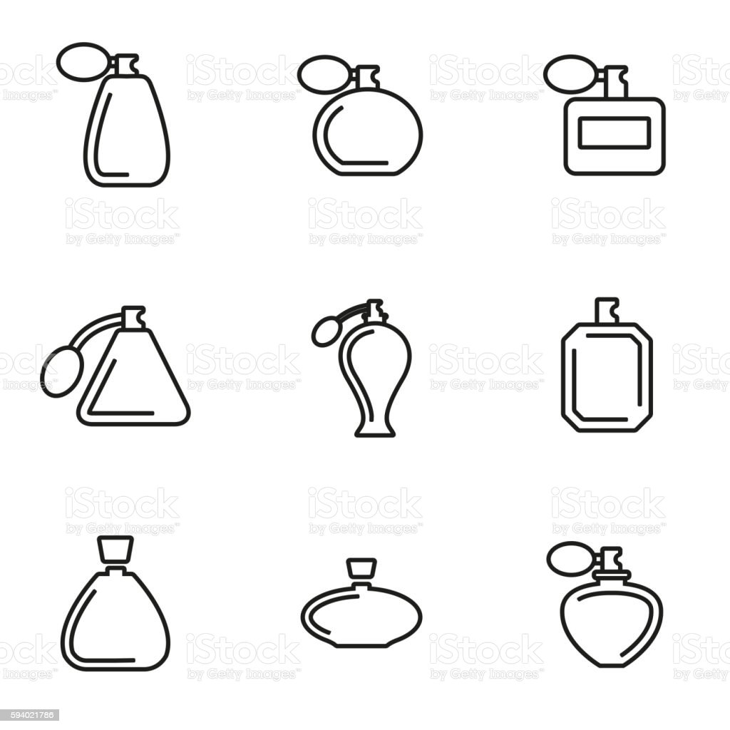 Vector line perfume icon set vector art illustration