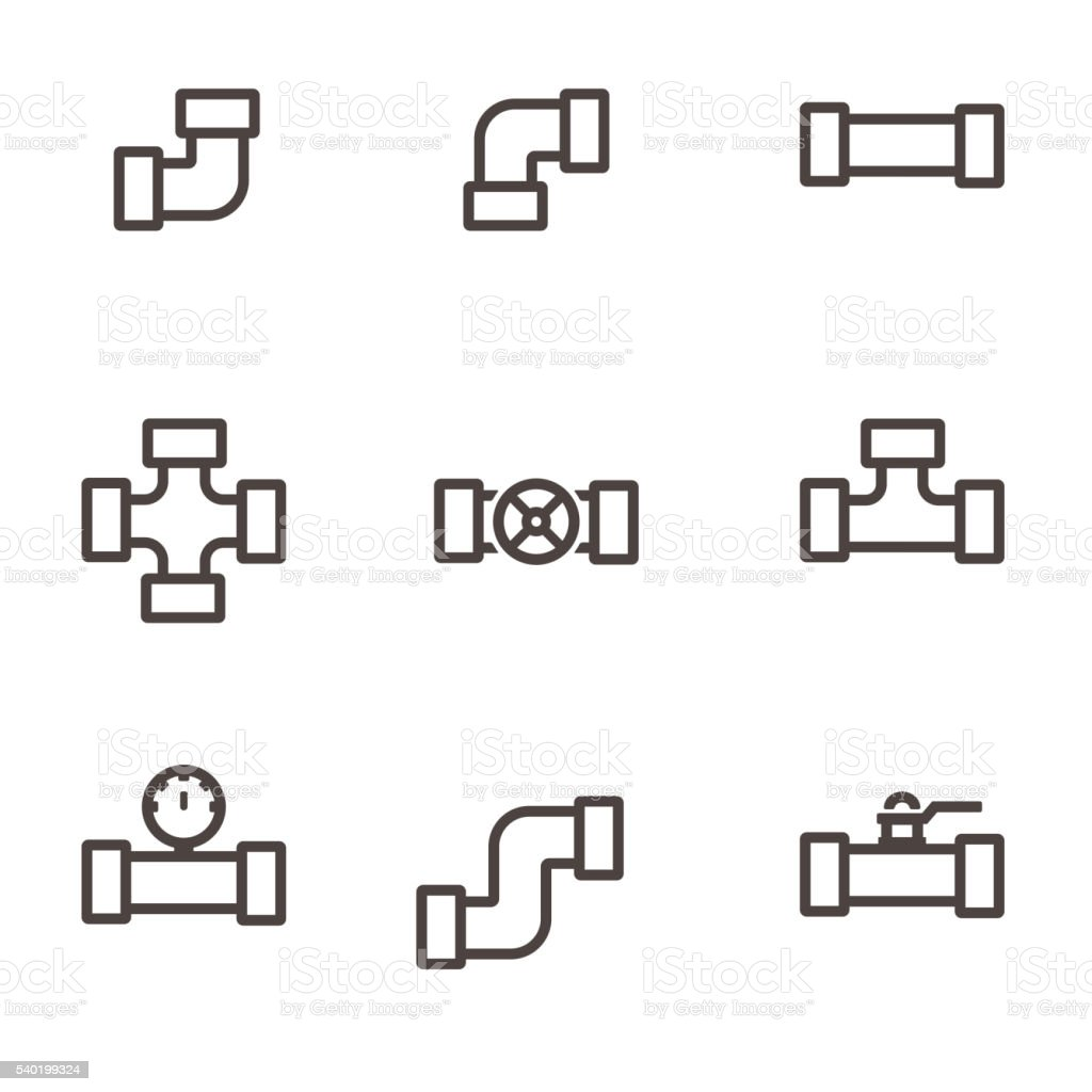 Vector line  pipe fittings icon set vector art illustration