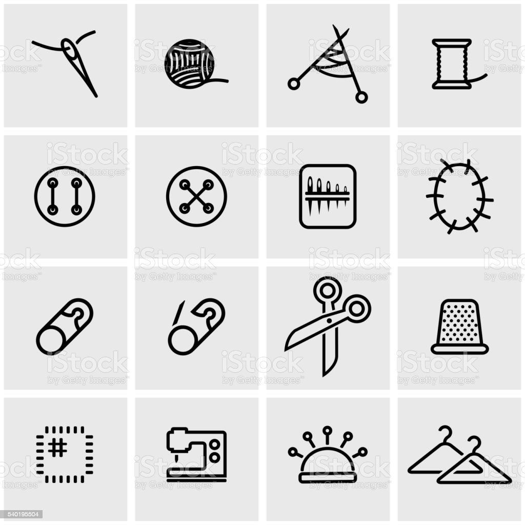 Vector line sewing icon set vector art illustration