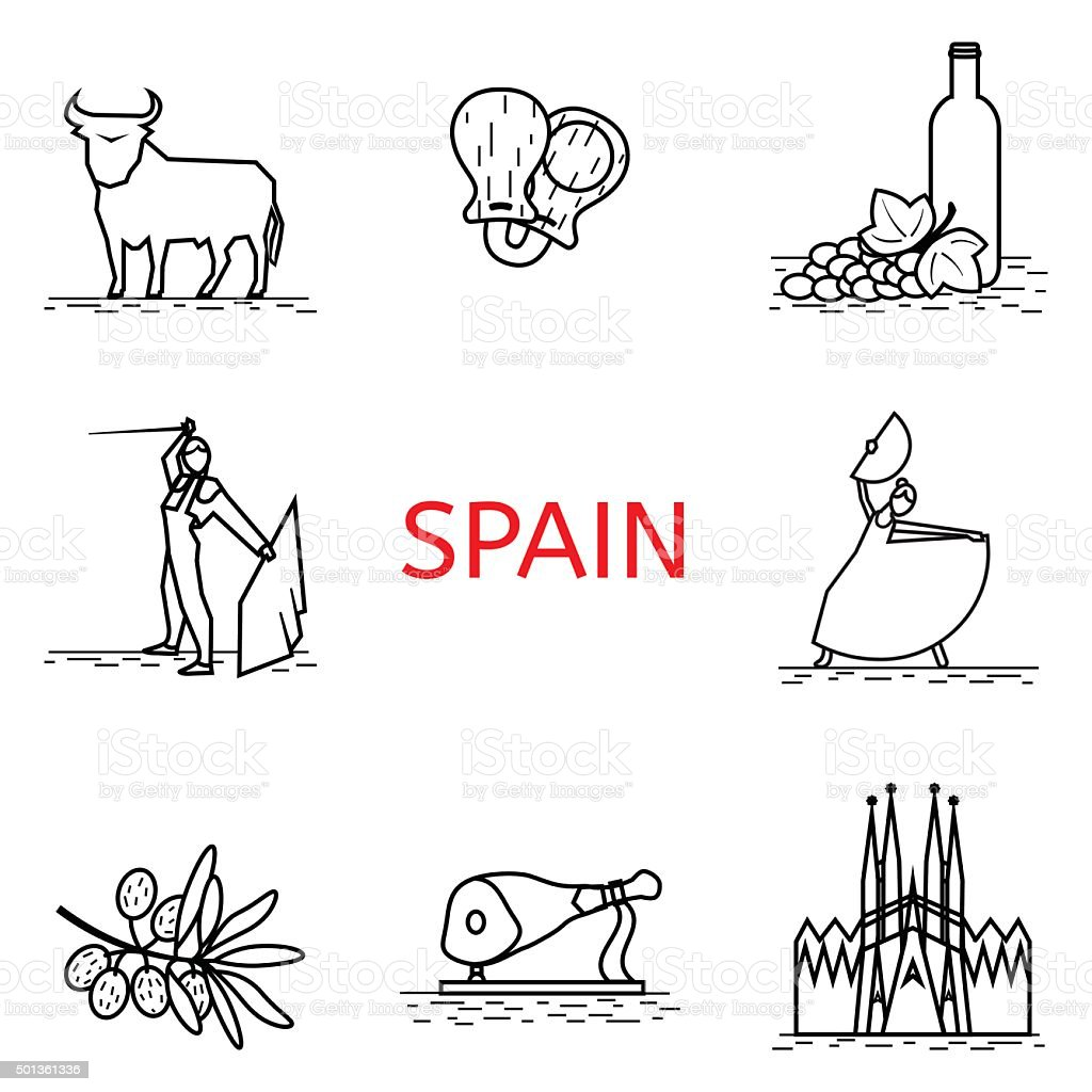Vector  line Spain icon. Corrida, flamenco, jamon, Sagrada. Spanish culture vector art illustration