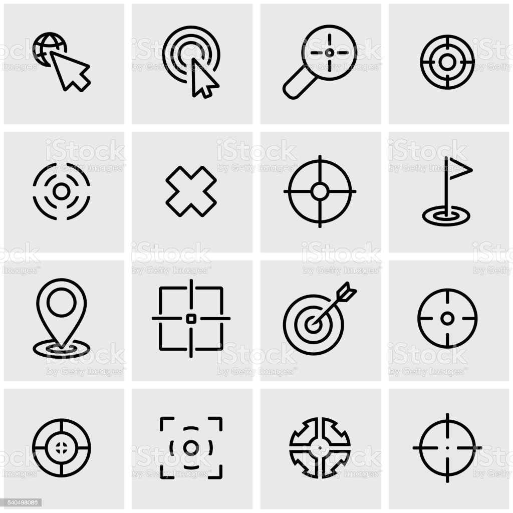 Vector line target icon set vector art illustration