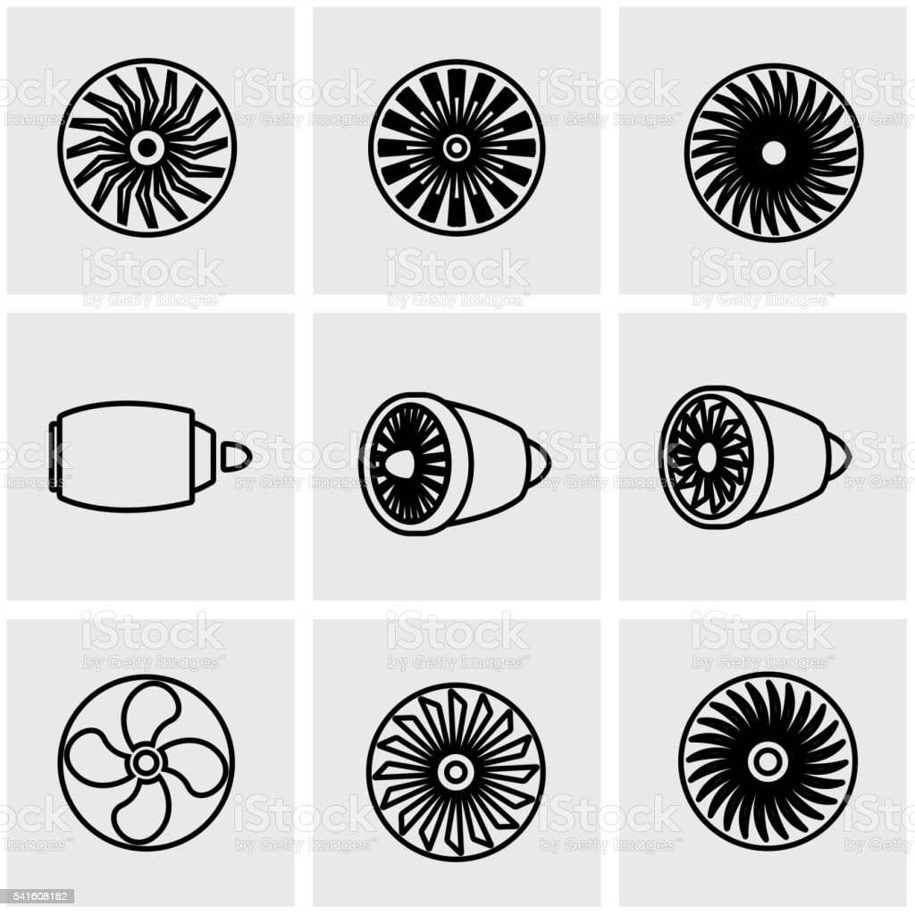 Vector line turbines icon set vector art illustration