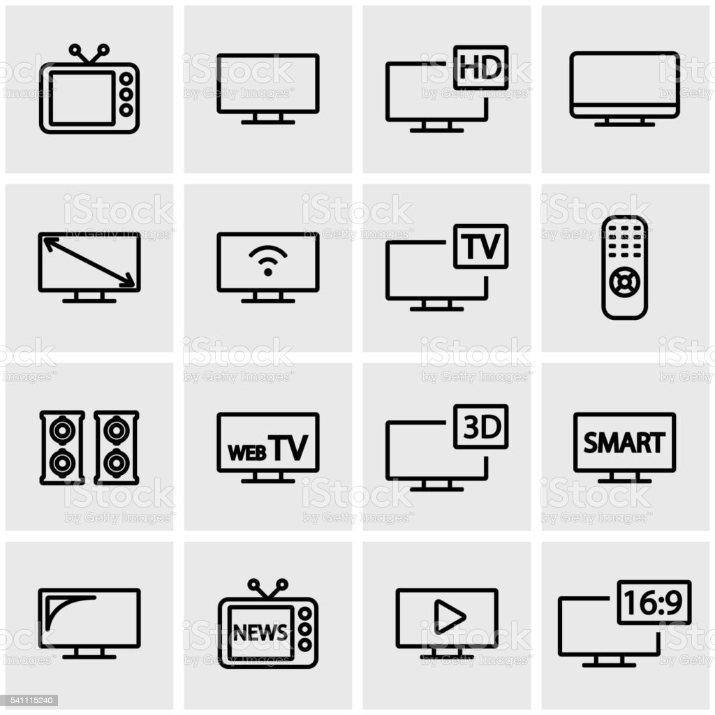 Vector line tv icon set vector art illustration