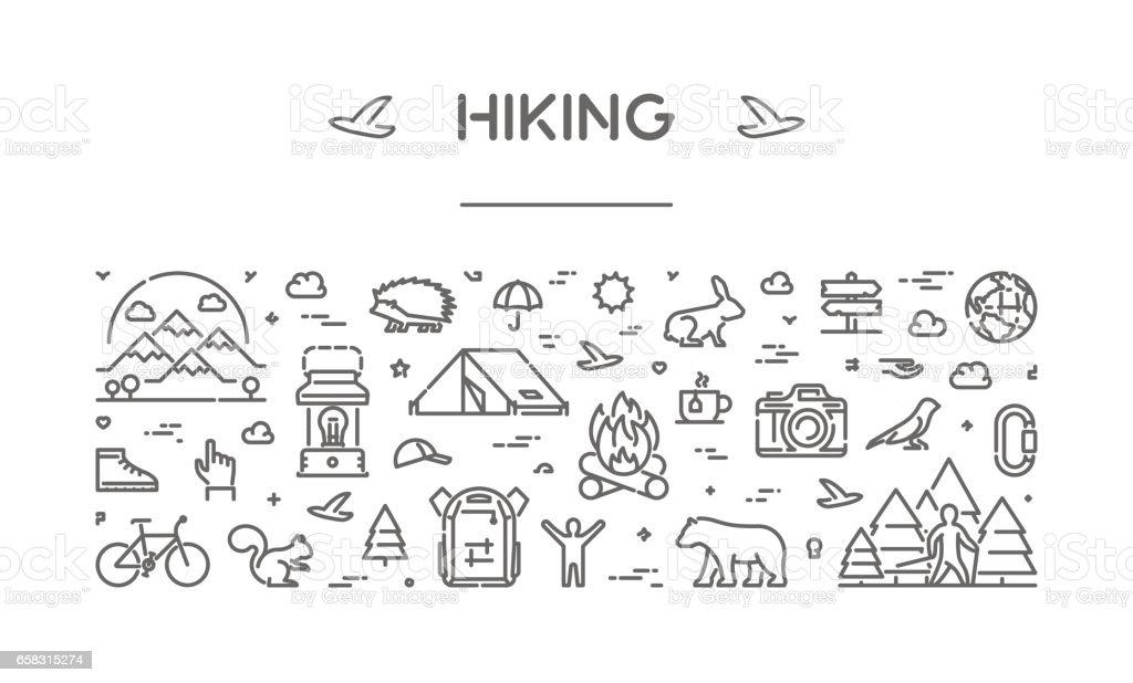 Vector line web banner for hiking vector art illustration