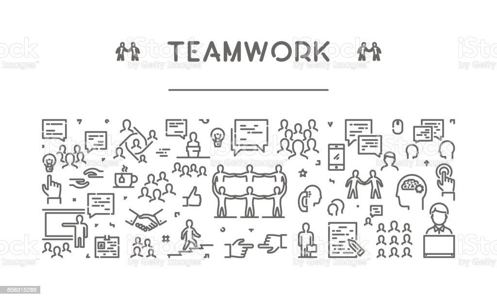 Vector line web banner for teamwork vector art illustration