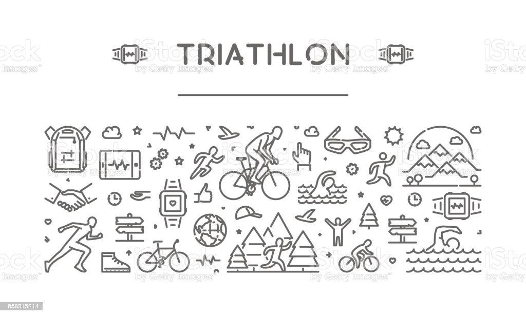 Vector line web banner for triathlon vector art illustration