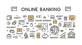 Vector line web concept for online banking.