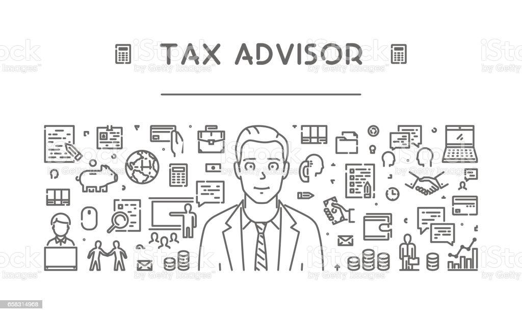 Vector line web concept for tax advisor vector art illustration