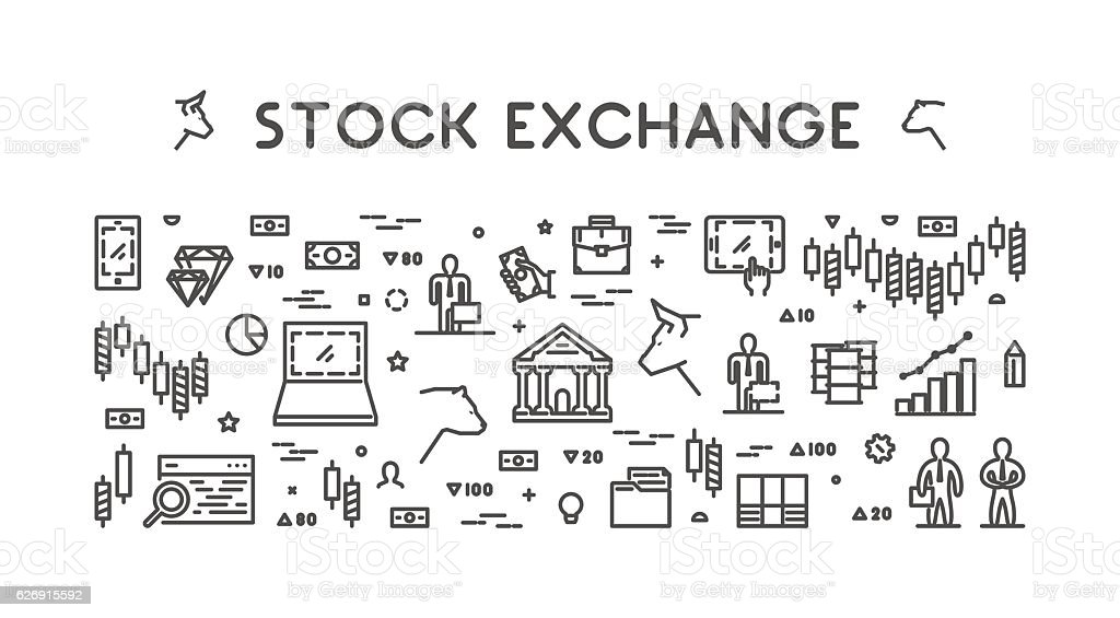 Vector line web concept stock exchange vector art illustration