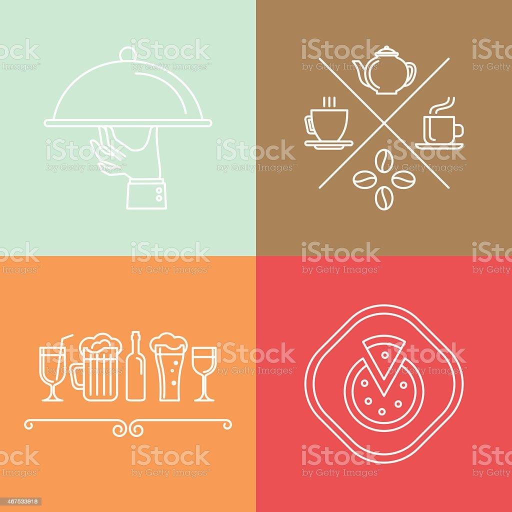 Vector linear catering icons vector art illustration