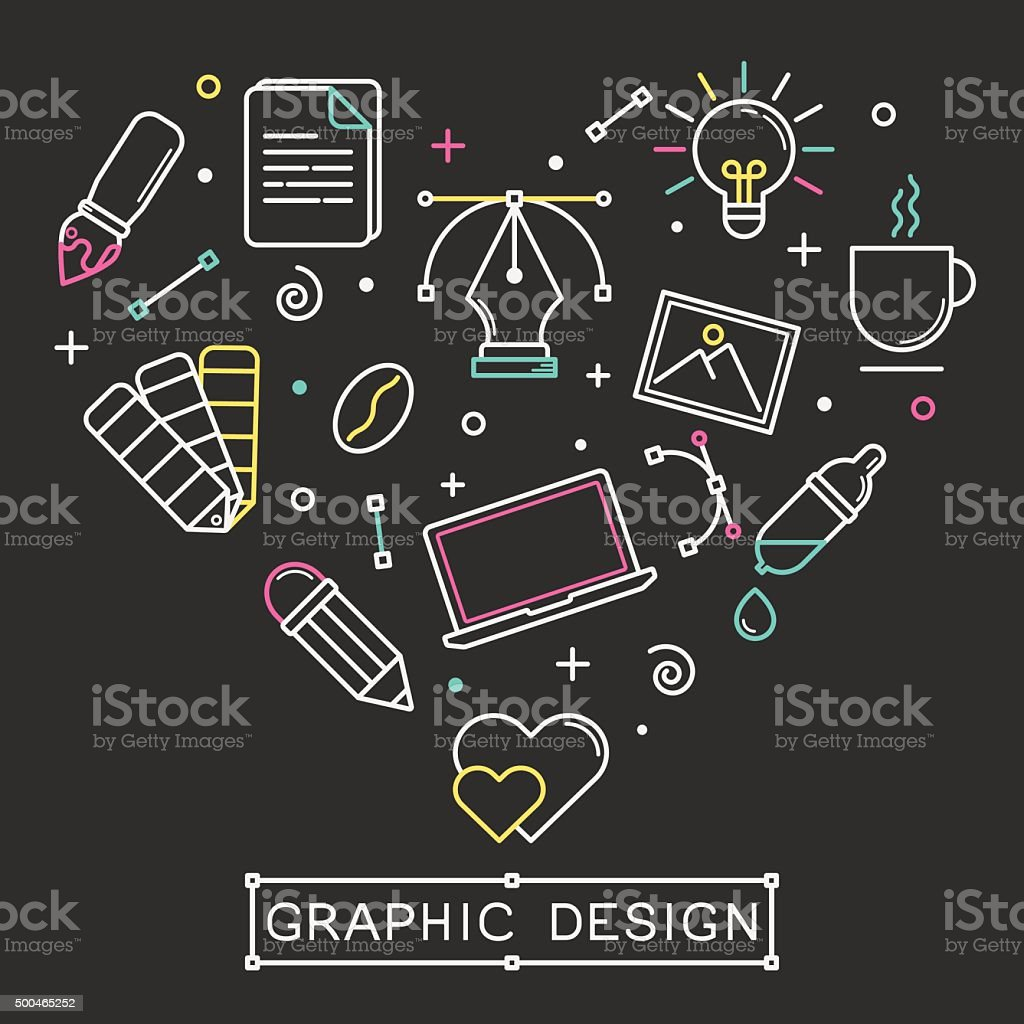Vector linear graphic design icons vector art illustration