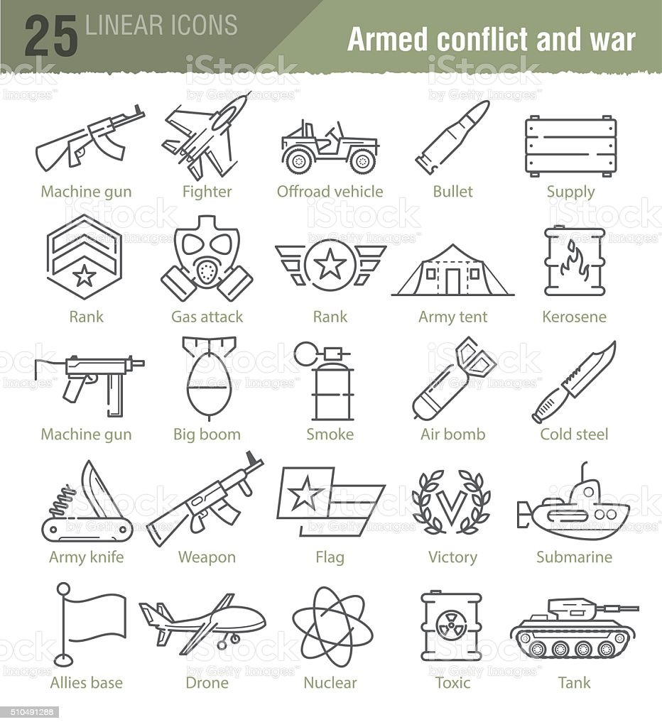 Vector linear icons for military infographics vector art illustration