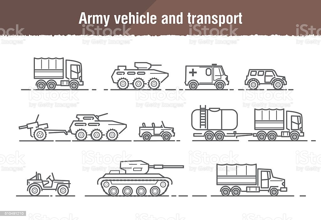 Vector linear icons of military and army transport and weapons vector art illustration