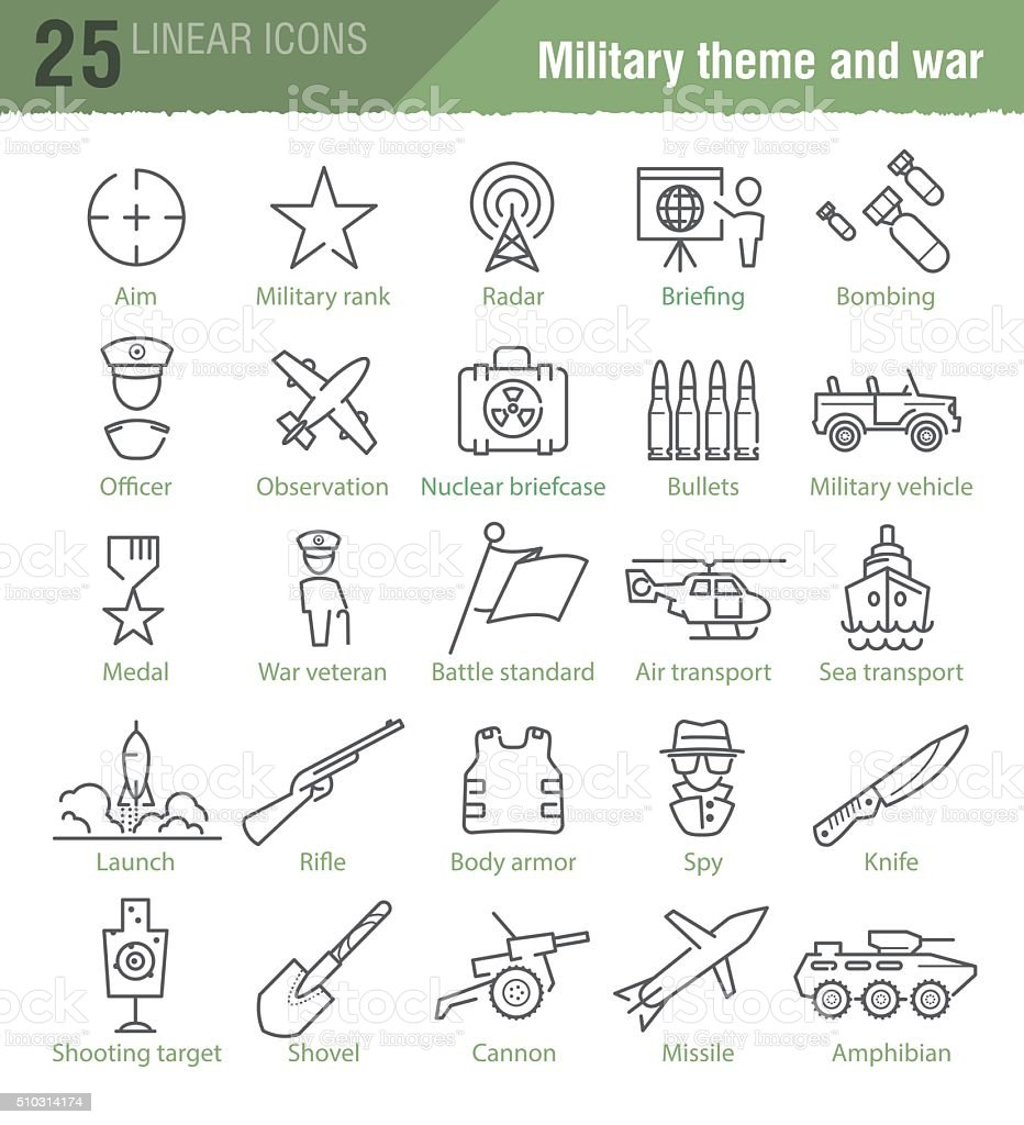 Vector linear icons set for military infographics vector art illustration