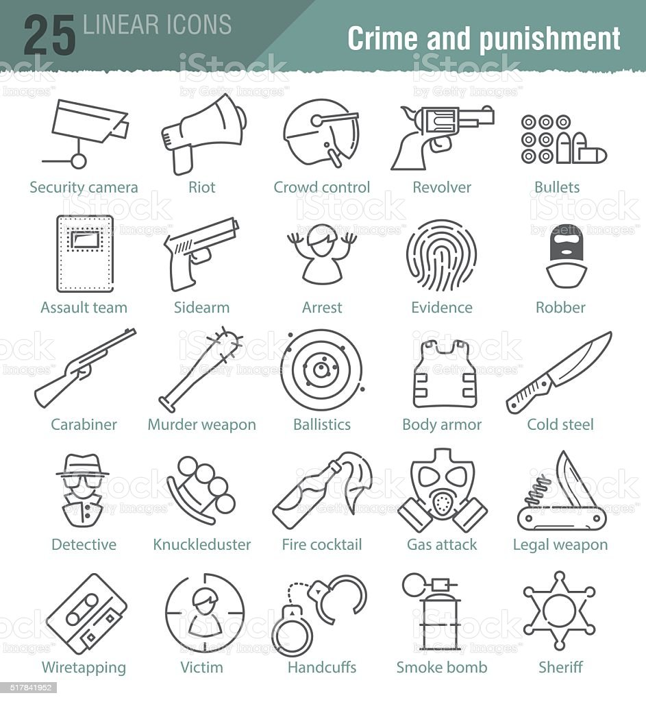 Vector linear icons set for police infographic vector art illustration