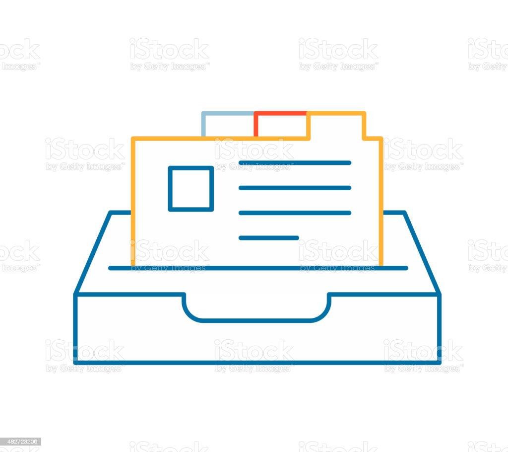 Vector linear illustration of color card file on white vector art illustration