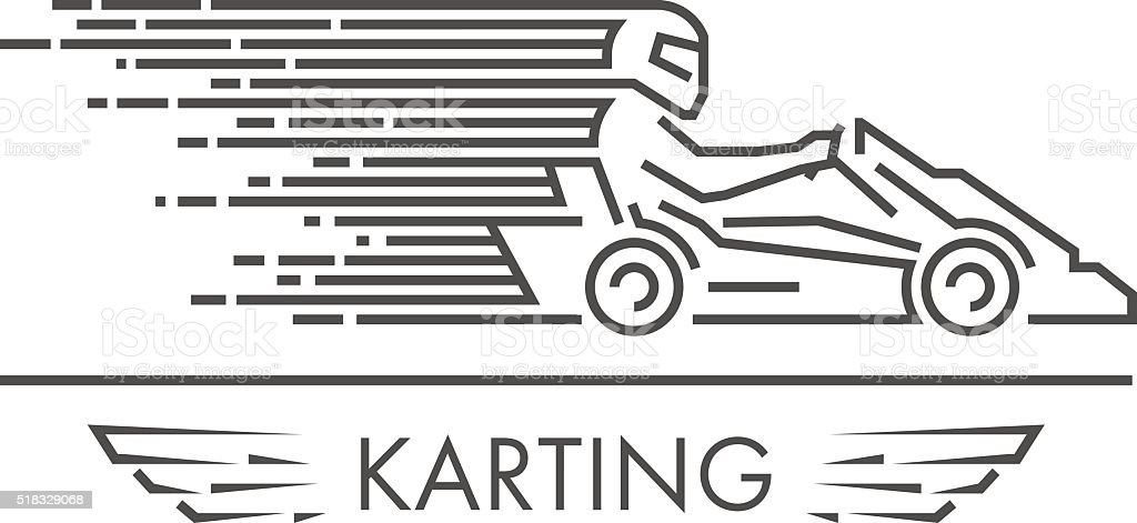 Vector linear karting and go kart logo and icon. vector art illustration