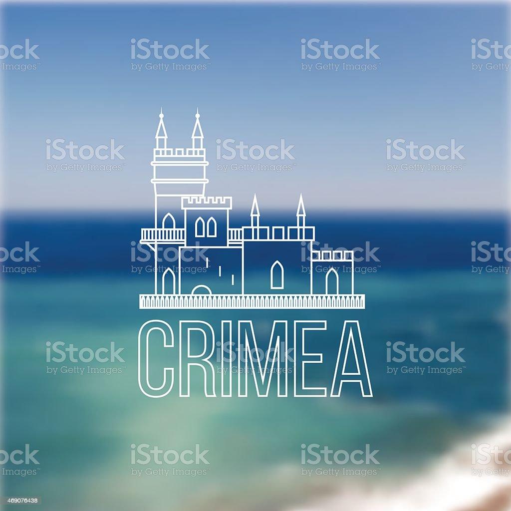 Vector linear symbol of Crimea on blurred background. The castle vector art illustration