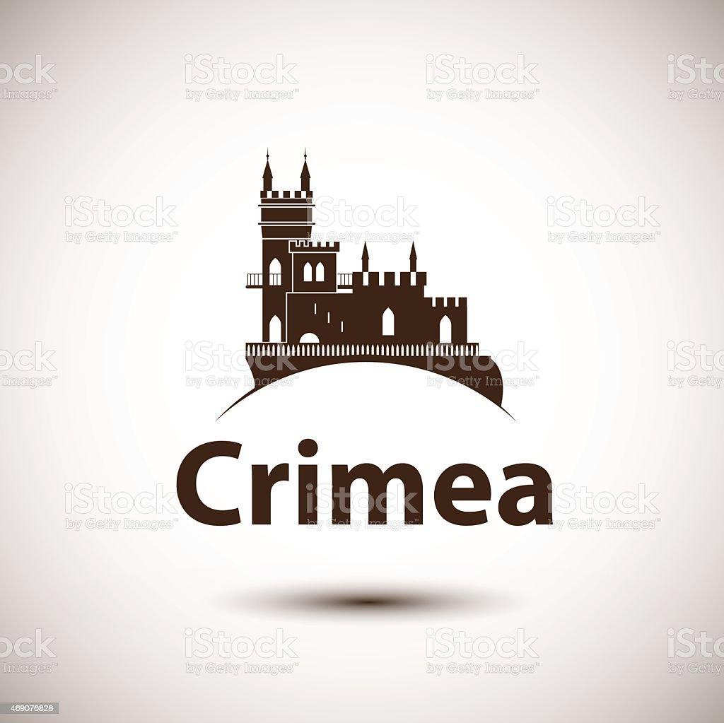 Vector linear symbol of Crimea. The castle Swallow's Nest vector art illustration