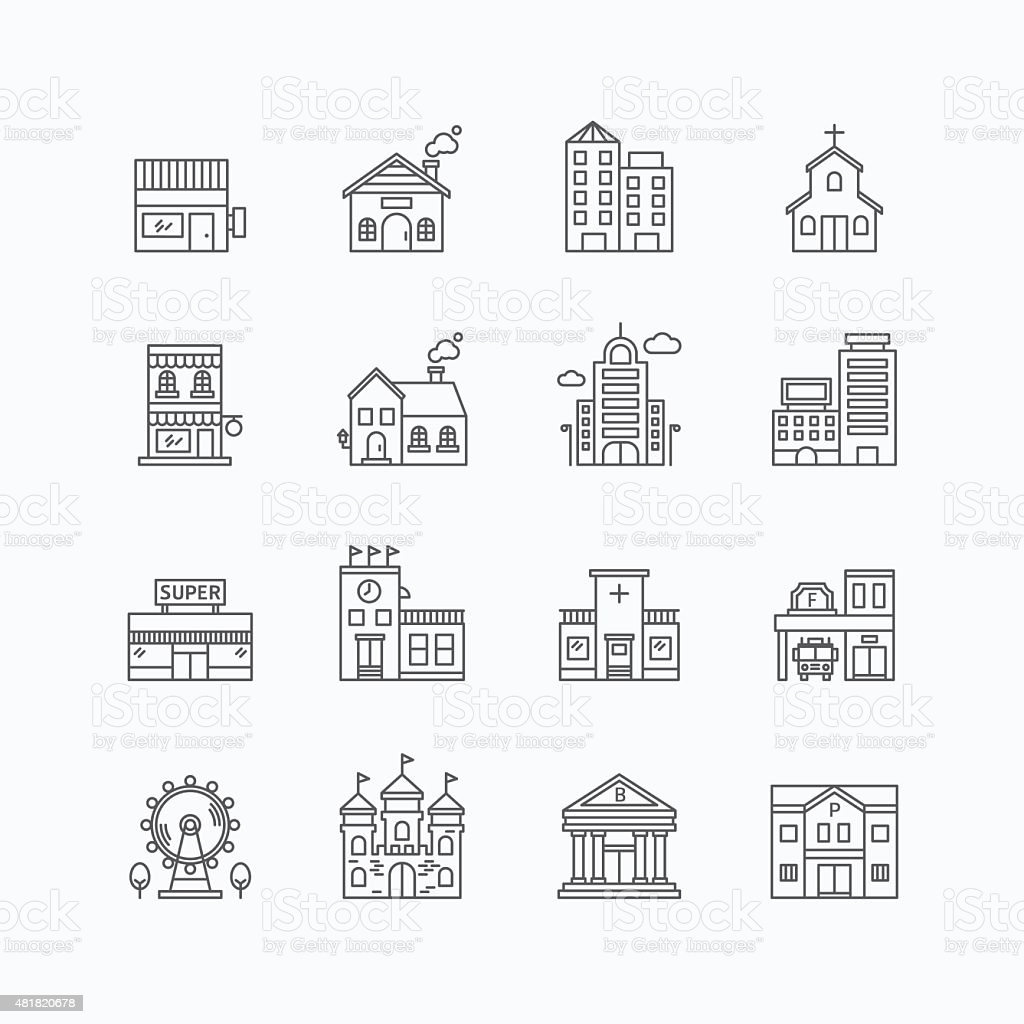 vector linear web icons set - buildings collection flat line vector art illustration