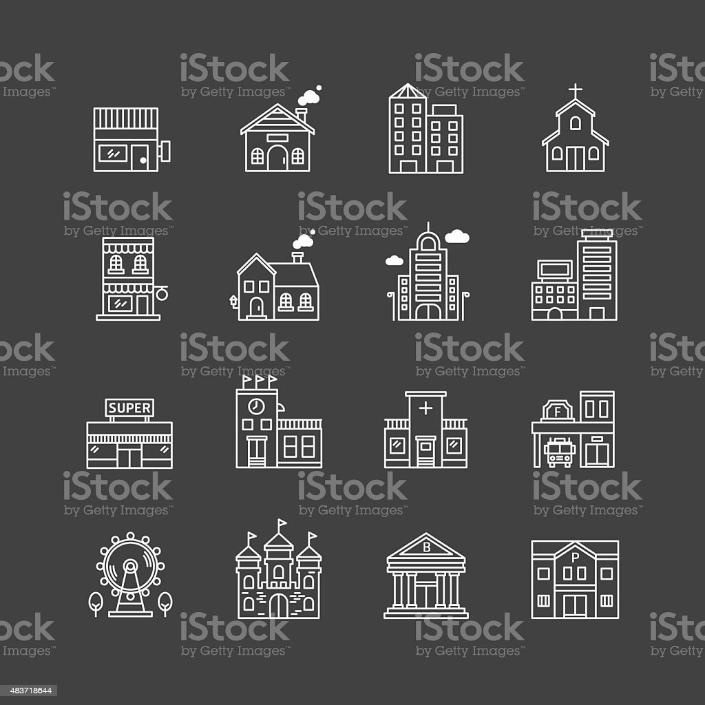 vector linear web icons set. buildings collection of flat line vector art illustration