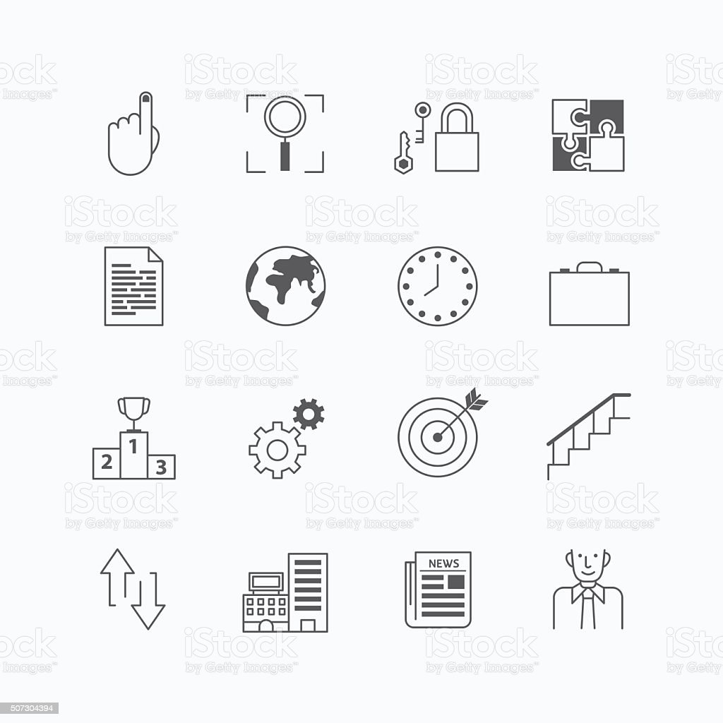 vector linear web icons set - business collection flat vector art illustration