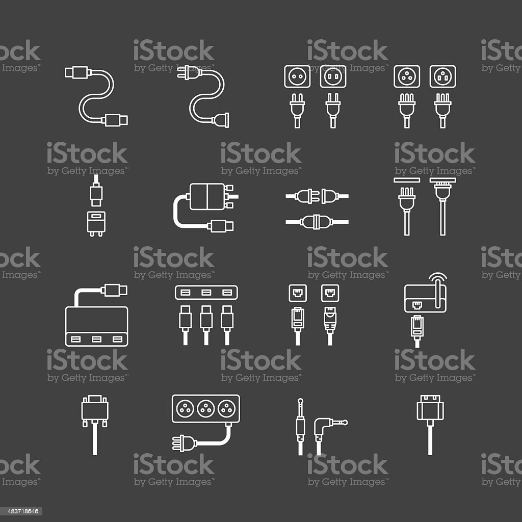vector linear web icons set - cable wire computer plug vector art illustration