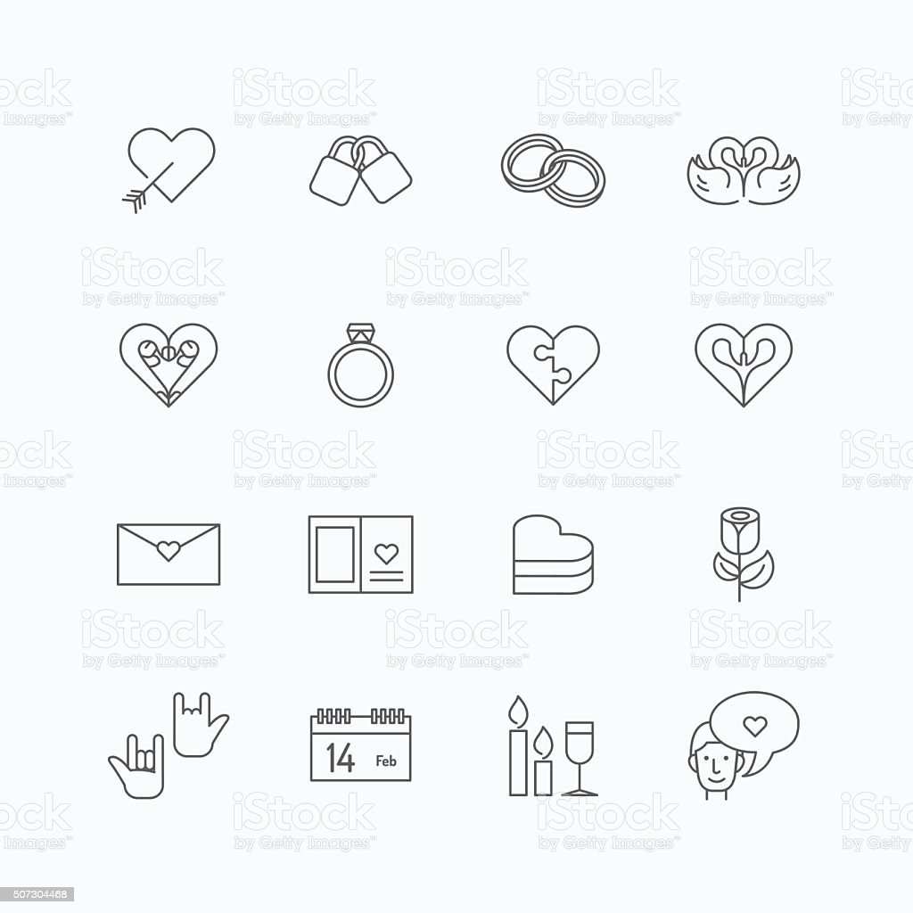vector linear web icons set - love collection  flat vector art illustration