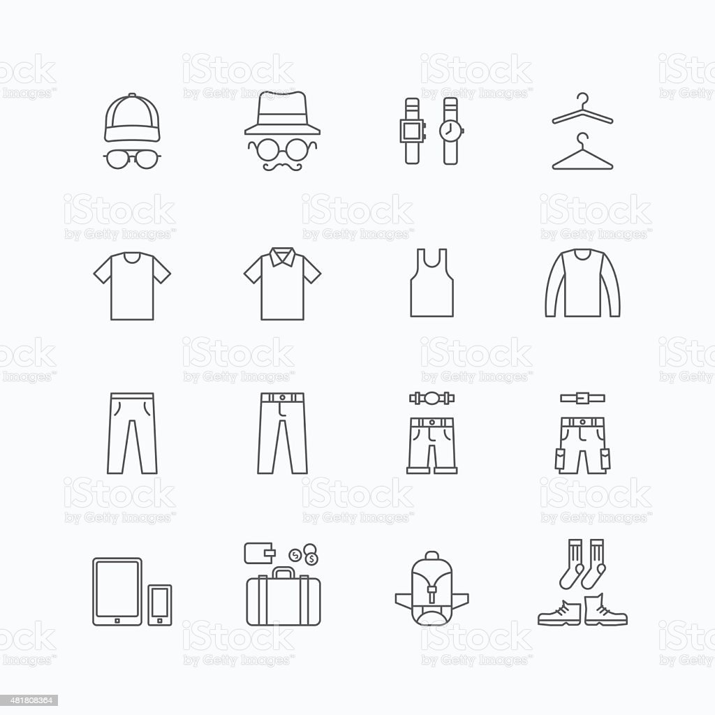 vector linear web icons set - man clothing store collection vector art illustration