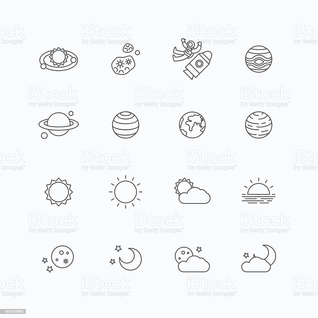 vector linear web icons set - space sun and moon vector art illustration