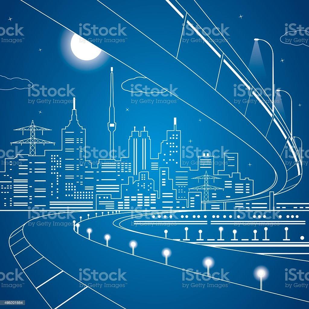 Vector lines bridge and trasport overpass, energy city vector art illustration