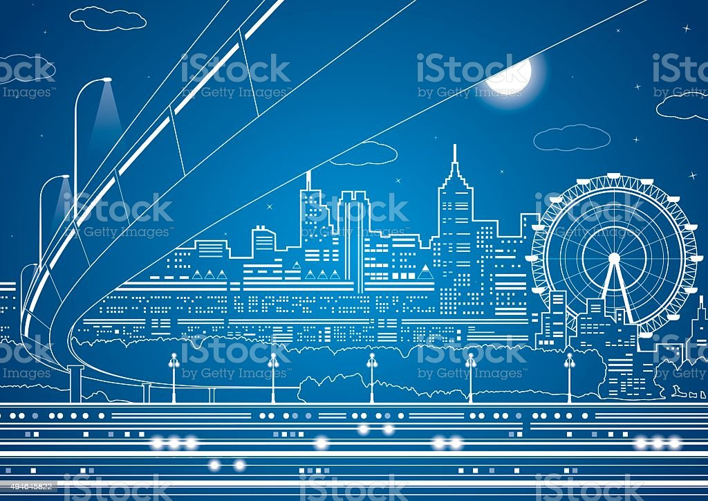 Vector lines city, vector bridge and trasport overpass vector art illustration