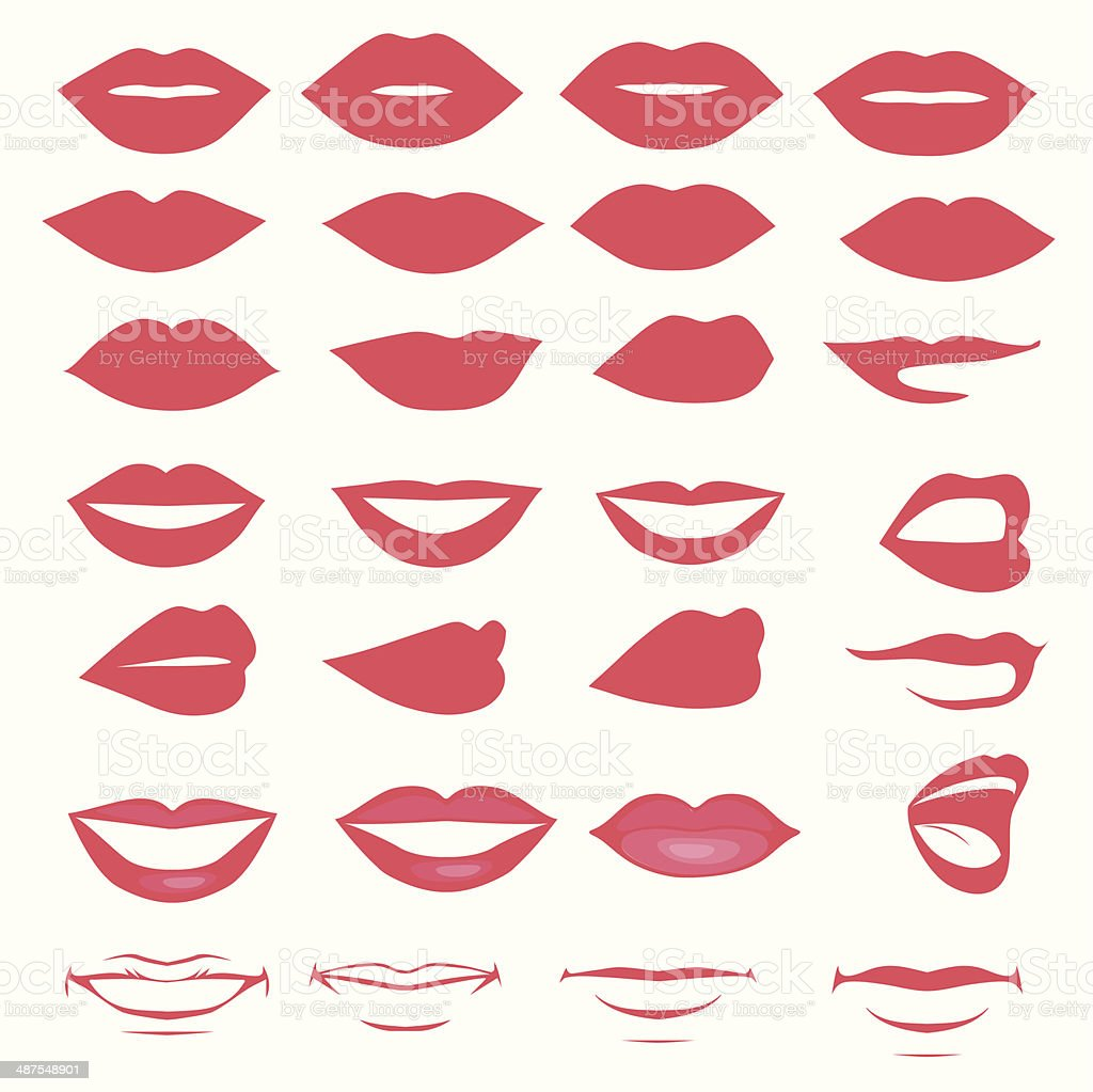 vector lips and mouth,  silhouette vector art illustration