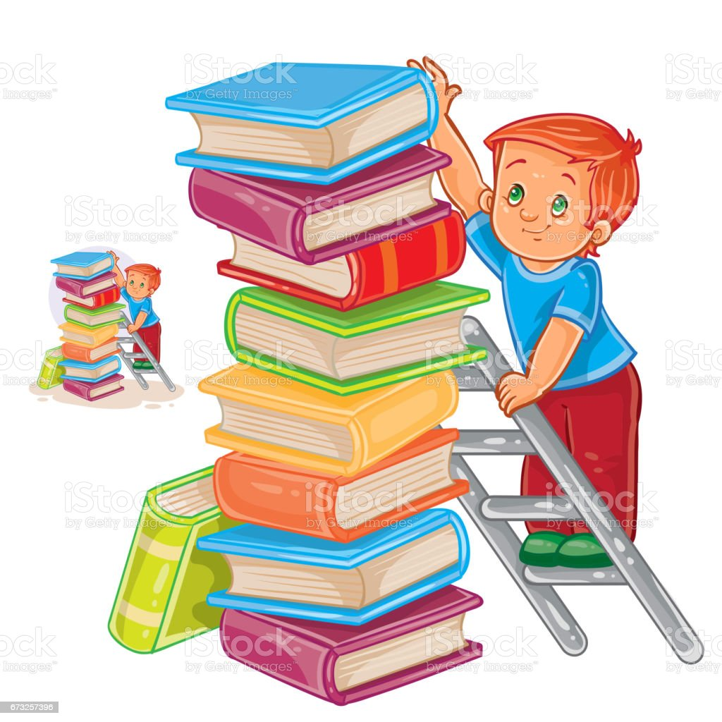 vector little boy is standing on the ladder and stacking books