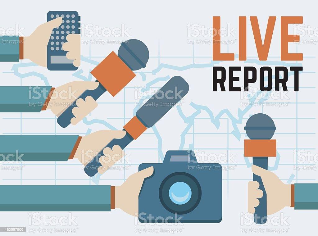 Vector live report, live news concept vector art illustration