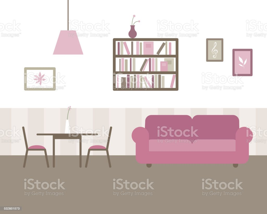 Vector Living and Dining Room vector art illustration