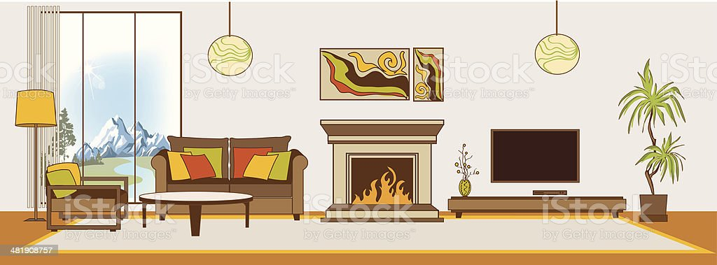 Vector Living Room Interior Flat Design Stylization Royalty Free Stock Art