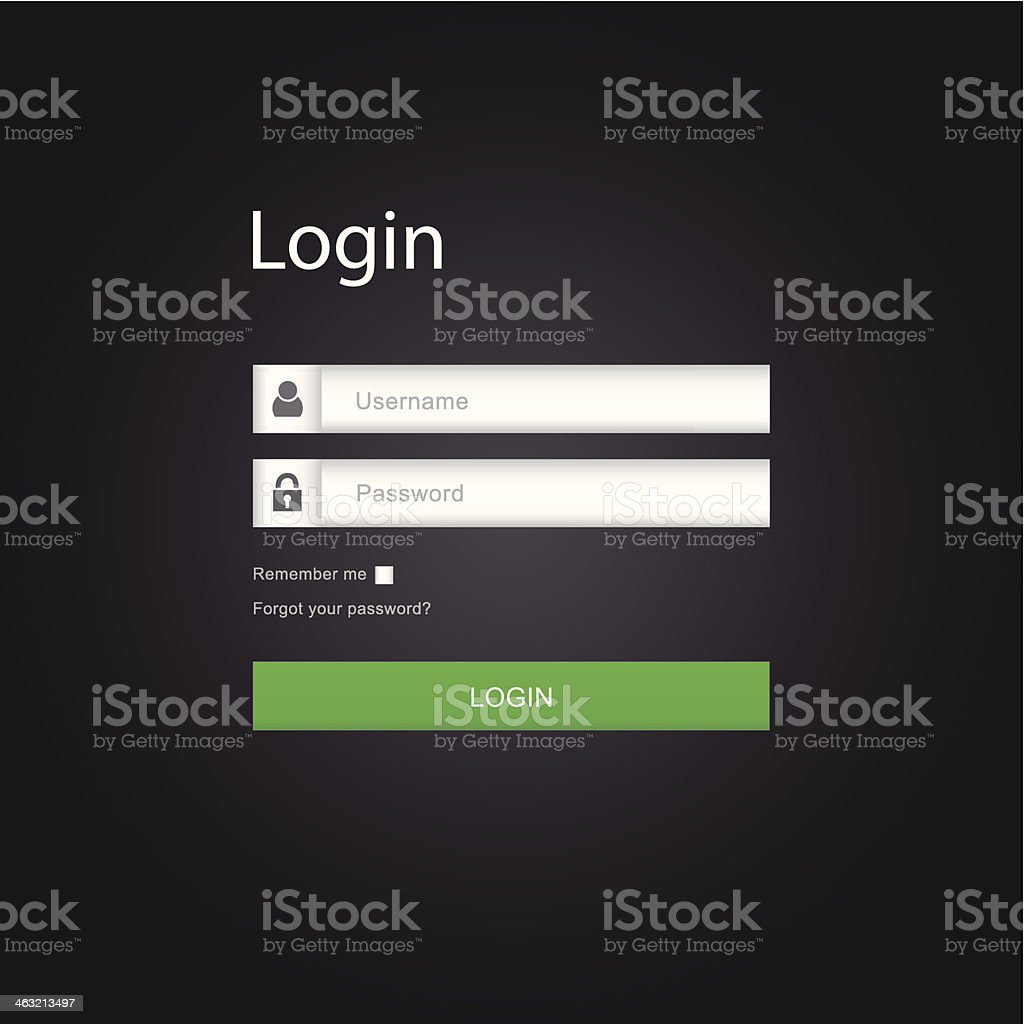Vector login interface - username and password vector art illustration