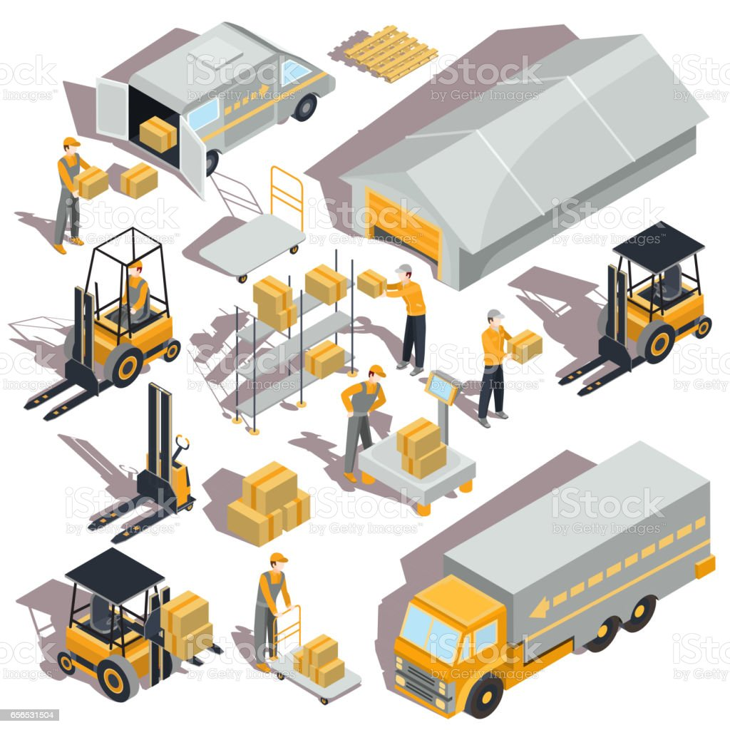 Vector logistic and delivery isometric icons vector art illustration