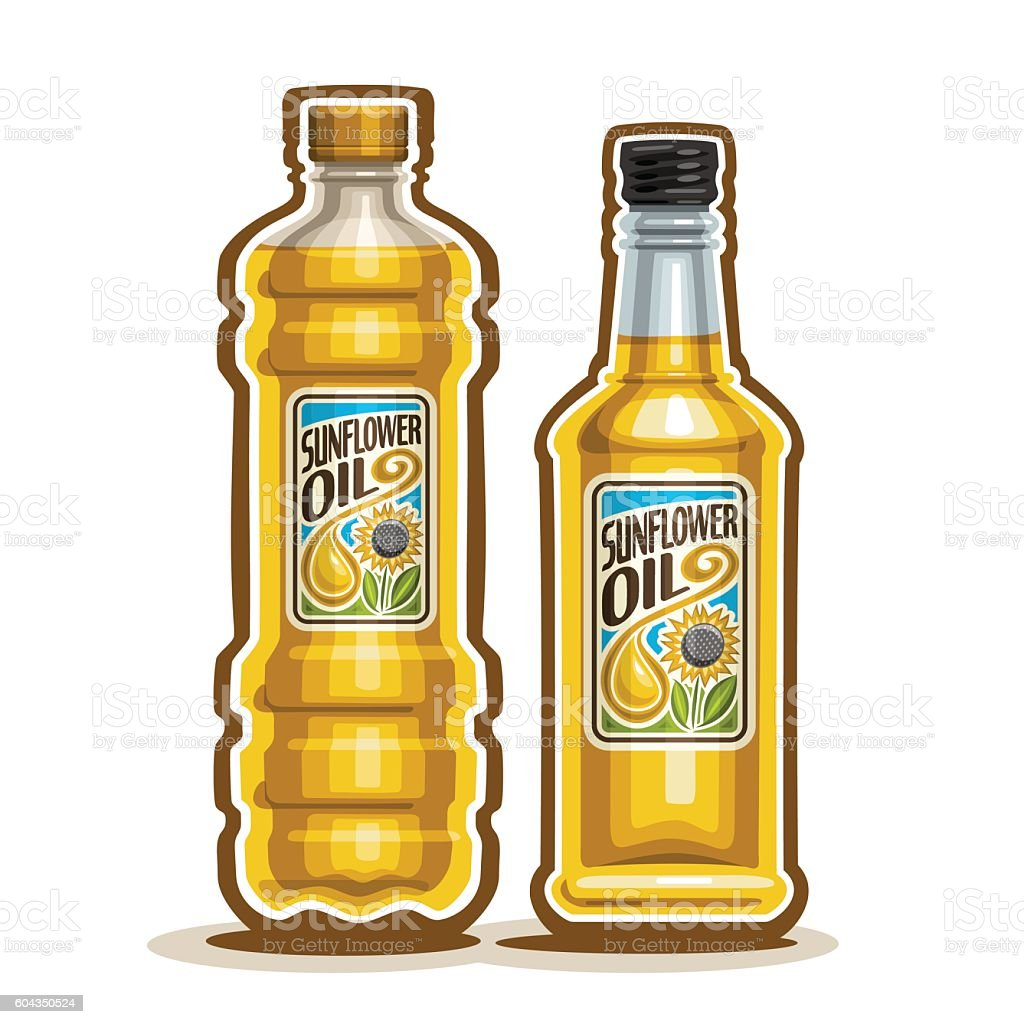 Vector logo 2 Bottles with Sunflower Oil vector art illustration