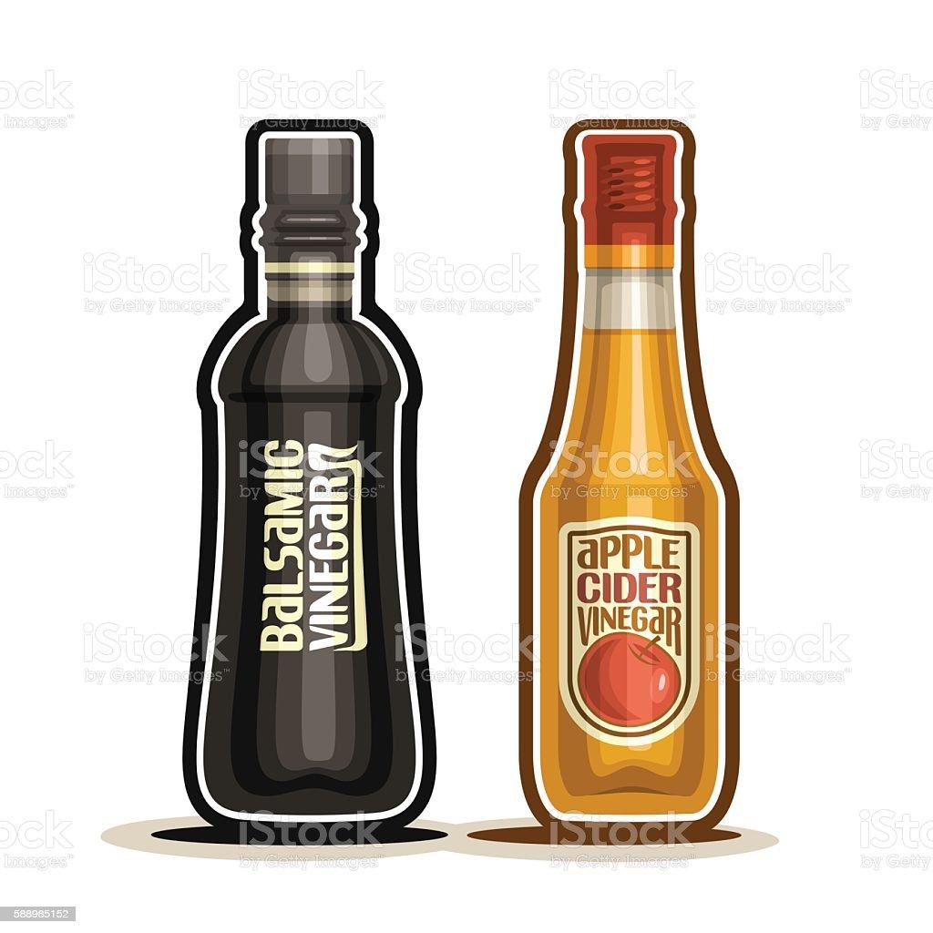 Vector logo Balsamic and Apple Cider Vinegar Bottles vector art illustration