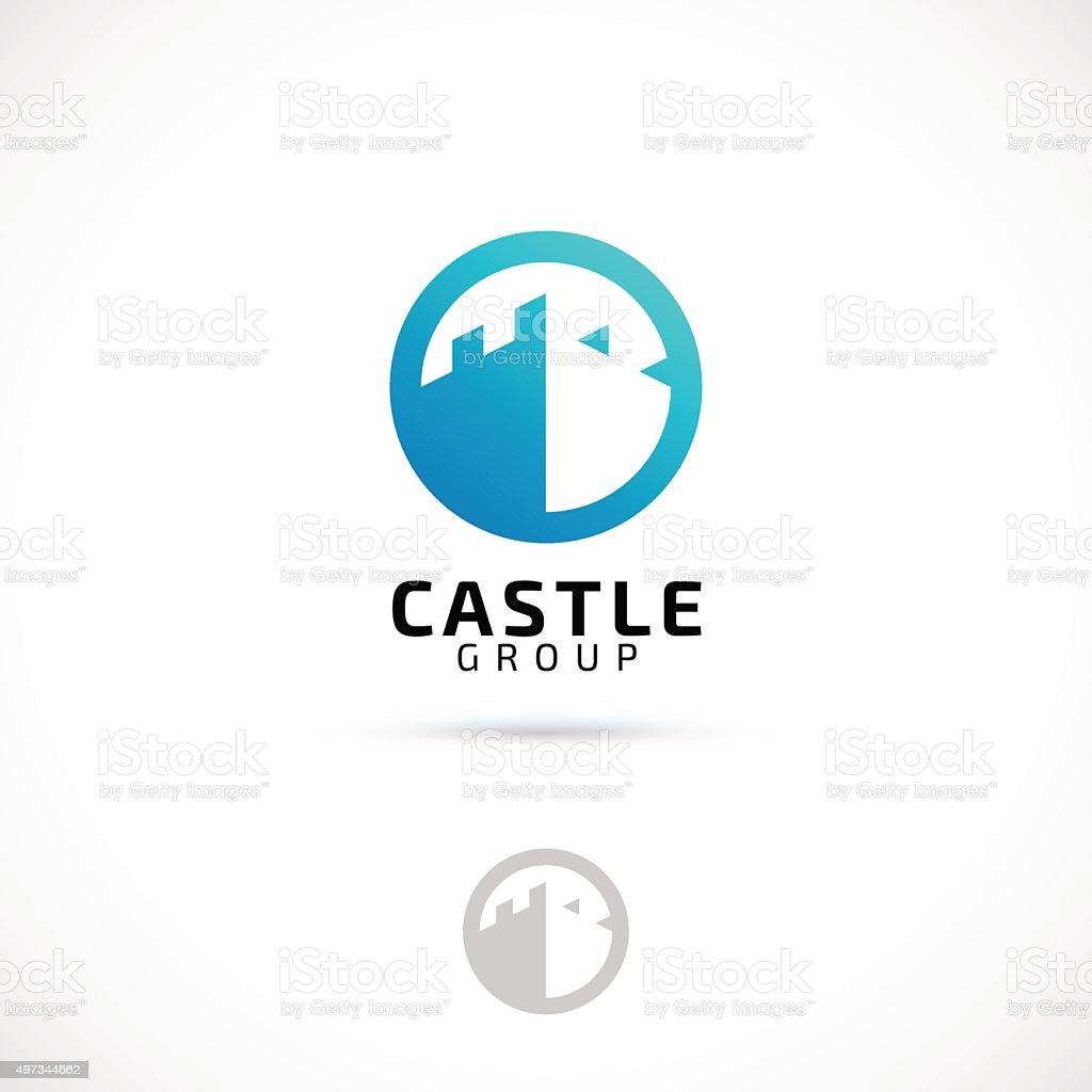 Vector logo design, castle in circle symbol icon. vector art illustration