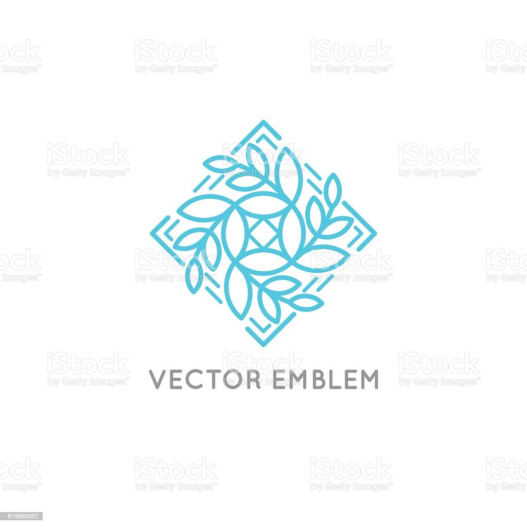 Vector logo design - cosmetics and beauty concept vector art illustration
