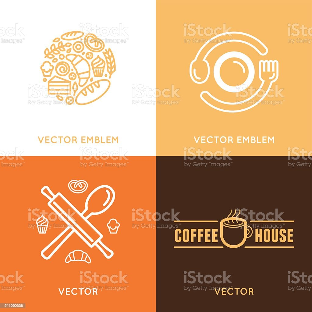 Vector logo design element with icons in trendy linear icons vector art illustration