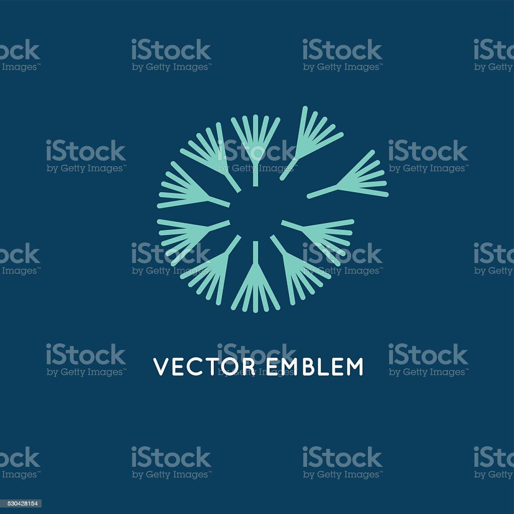 Vector logo design template in linear style - dandelion concept vector art illustration